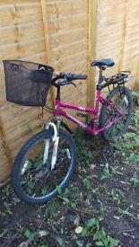 nice bike with shopping bag