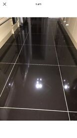 104 x high gloss black porcelain floor tiles
