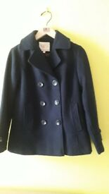 Navy blue wool coat