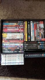 Around 45 DVD's including tv and movie box sets