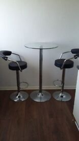 Poseur Table with 2 Gas Lift Bar Stools