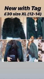 Dark Green Faux Fur Coat with Tags