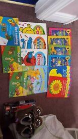 Range of childrens reading learning books