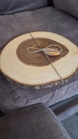 Wedding cake wooden display log - never used. Measures 32-33cm across.