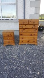 chest of drawers and bedside locker