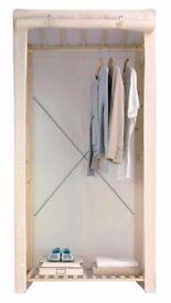 Single cream canvas pine wardrobe