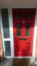 Red composite victorian style front door