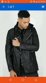 Mens black hooded parka coat by Terance Cole