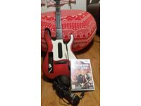 Green day Wii game with guitar and microphone controllers