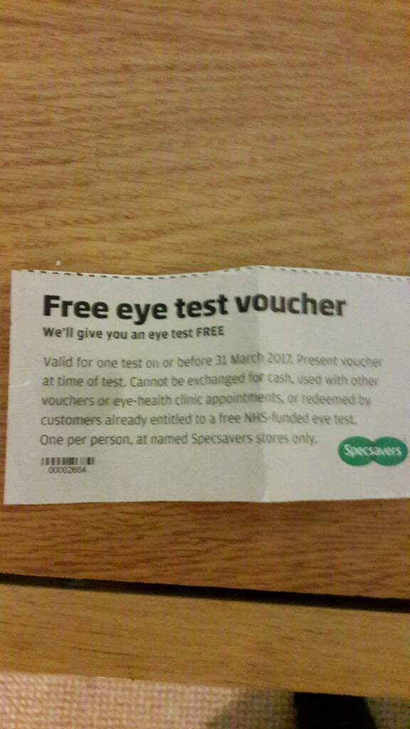 Specsavers Free Eye Test Voucher Ticket In Exeter Devon