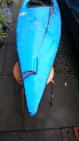 canoe vintage blue used old weathered for art installation garden display