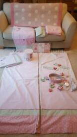 Next Nursery Cot/Cot bed set, curtains & tiebacks, musical mobile, spot rug,3 pictures, lightshade.