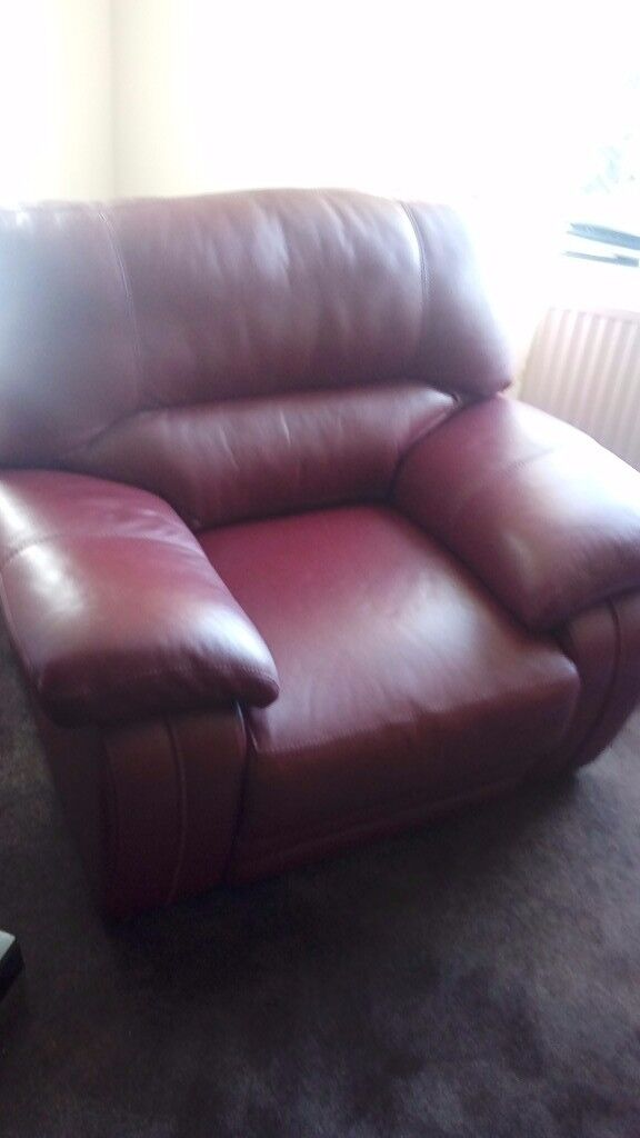 Red leather two seater and chair high quality as new