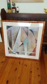 huge abstract painting in burr frame