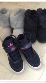 Children's Next fur winter boots and Adidas trainers