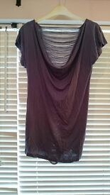 Ladies size 8 silver/grey coloured top - ideal for Christmas!