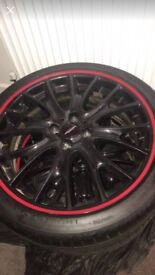 Genuine Mini JCW 18 Inch black with red pinstrip alloy wheels with tyres