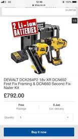 Dewalt first fix and second fix nail gun with batteries and charger