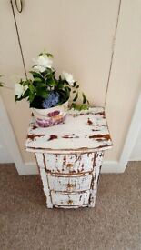 Very Substantial 3 drawer bow fronted chest, shabby chic