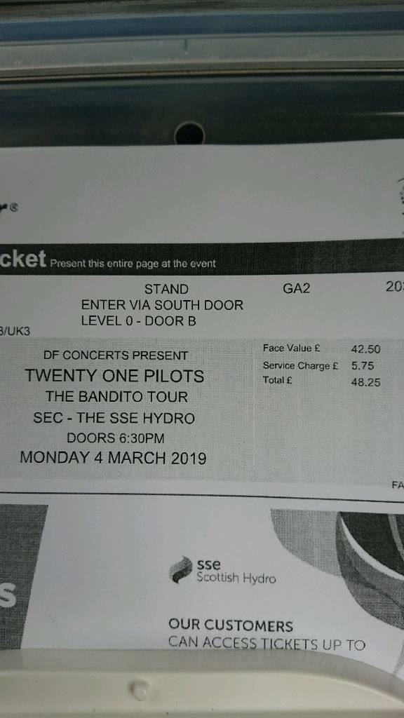 2 x standing 21 pilots tickets | in Rosyth, Fife | Gumtree