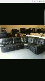 Leather electric recliner corner sofa