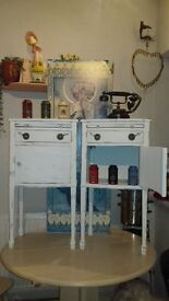2x Retro 1940-1950 Duncan Phyfe style Nightstands painted in Shabby Chic chalk paint