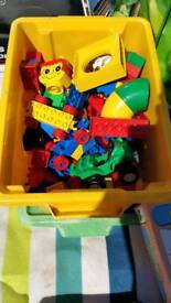 Duplo box includes train, figures and bricks