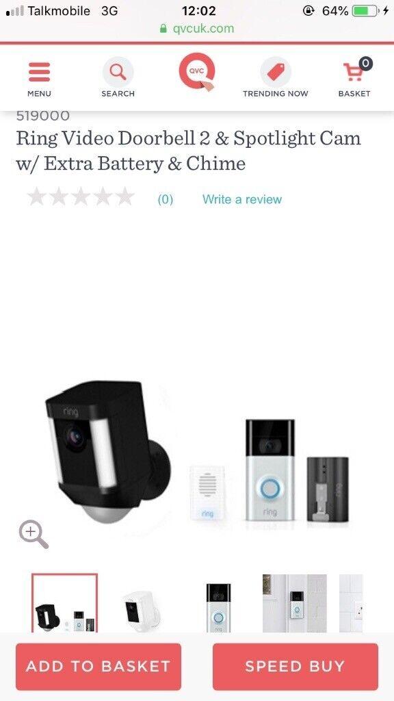 Ring Video Doorbell 2 & Spotlight Cam w/ Extra Battery & Chime | in  Watford, Hertfordshire | Gumtree