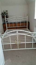 White Victorian metal bed frame double