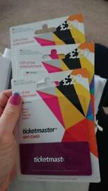 3 x £20 ticketmaster gift cards