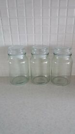 3 X GLASS STORAGE JARS