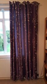 Eyelet purple/gold curtains in excellent condition 228cm l x 228cm w