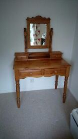 Pine dressing table and mirror.