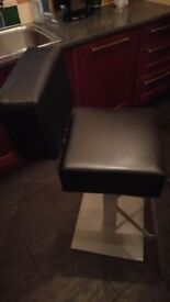 Black leather and silver style heavy duty bar stools
