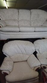 G PLAN 3 SEATER & 2 ARMCHAIRS Cream Fabric - , LOCAL DELIVERY CAN BE ARRANGED