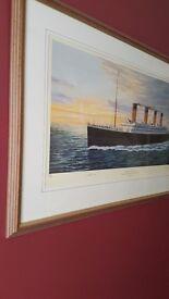 Framed Titanic print signed