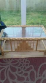 Bamboo glass coffee table vg.