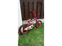 """Boys 14"""" cars bike like new can deliver for a small charge"""