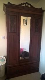 Antique mahogany wood wardrobe