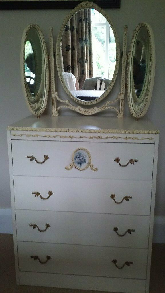 French Style Chest of Draws with Triple Mirror - £25 - Will Sell Separately  | in Norton, North Yorkshire | Gumtree