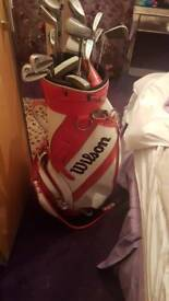 Wilson golf bag and clubs