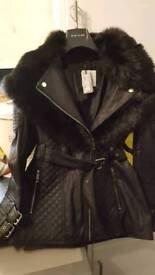 Fox fur leather trim jacket