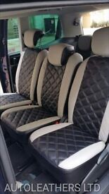 MINICAB CAR LEATHER SEAT COVERS FORD GALAXY PEUGEOT 5008 CITREON C4 GRAND PICASSO VAUXHALL ZAFIRA