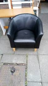 Tub chair in faux leather dark brown