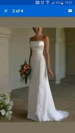 Elegant white lace-up sleeveless wedding dress bridal gown size 10