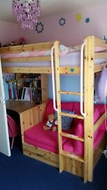 Dreams high sleeper single bed with desk and sofabed underneath