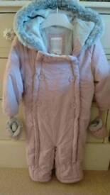 John lewis girls pink snow suit 9-12mths