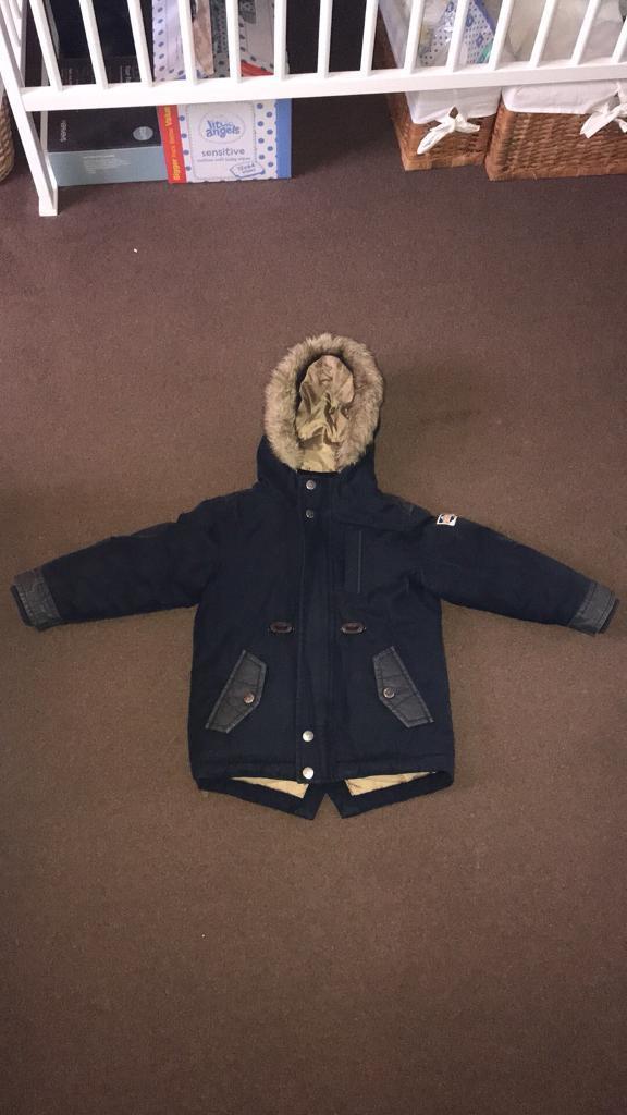 8754d8f4739a Boys next navy coat age 3-4 years