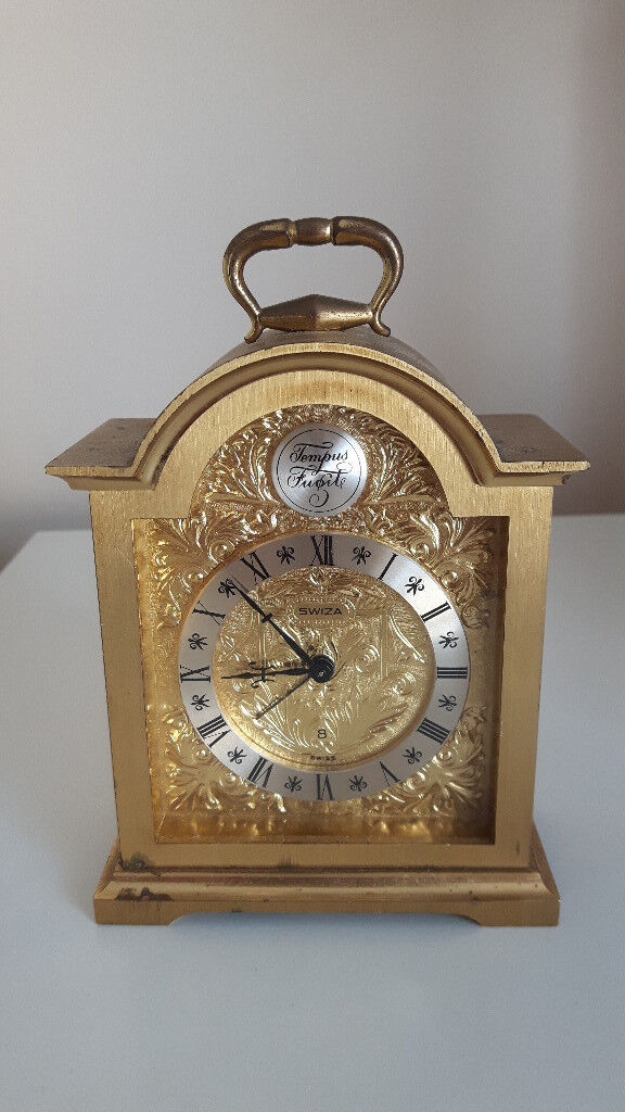 Vintage Swiza Tempus Fugit Brass Carriage Clock With Alarm
