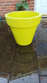 Large bright yellow plant pot